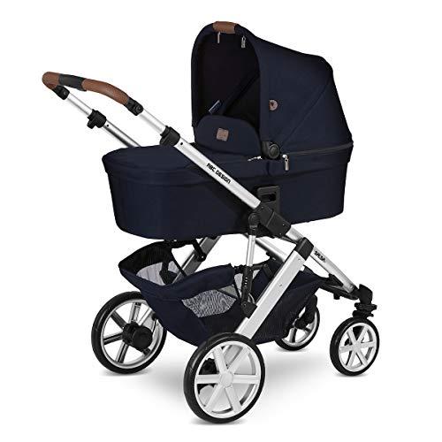 ABC Design Kinderwagen Salsa 4 – Kombi-Wagen für Neugeborene & Babys bis 22kg – Inkl. Sportsitz & Tragewanne – Kleines Faltmaß & besonders leicht – Farbe: Shadow