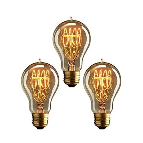 KINGSO 3 Pack E27 Edison Lampadine a Incandescenza Vintage Lampada a Filamento A19 40W 220V Bianco Caldo Ideale per La Nostalgia e L'illuminazione Antica