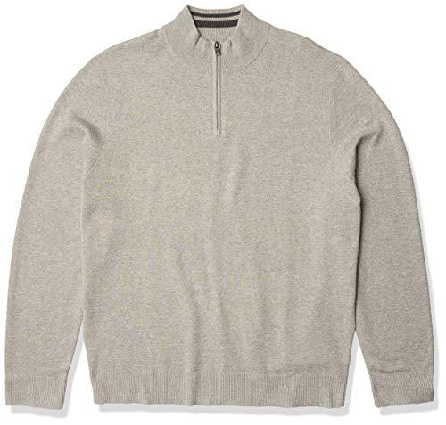 Dockers Men's Long Sleeve Quarter Zip Sweater, Light Gray Heather Acrylic, Medium
