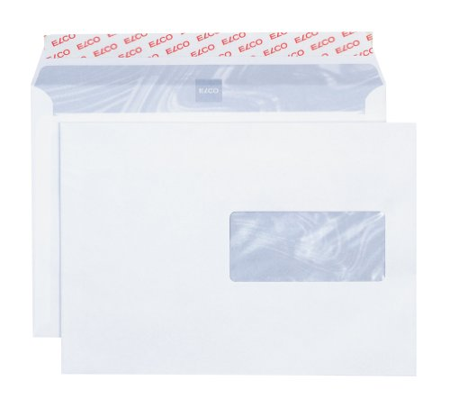 Elco 62896 Boite de 500 enveloppes avec fenêtre Format C5 Blanc