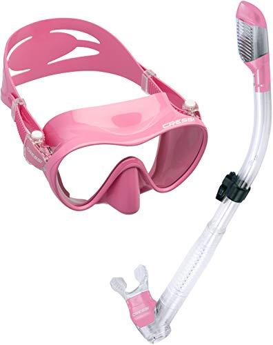 Cressi Scuba Diving Snorkeling Freediving Mask Snorkel Set, Pink