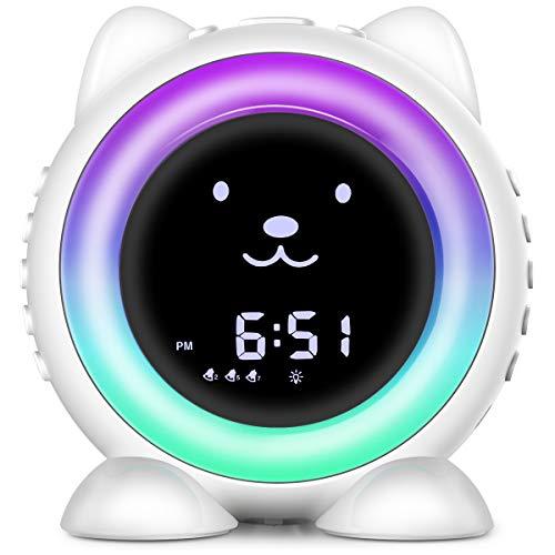 Cat Alarm Clock for Kids, Toddler Children's Sleep Training Clock , 8 Night Light & Wake Up Light, 17 Sleep Sound Machine,Weekdays & Weekend Optional