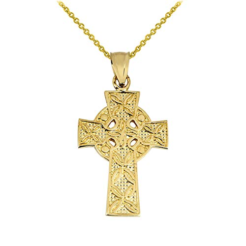Solid 14k Yellow Gold Irish Celtic Cross Trinity Pendant Necklace, 22'