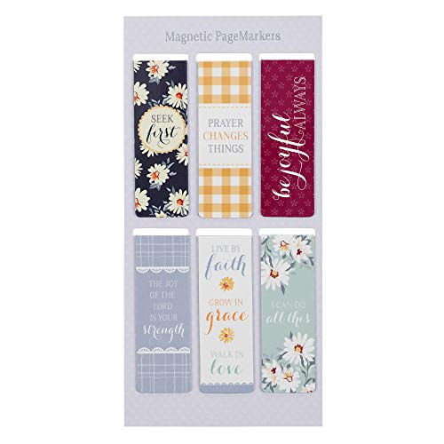 Set of 6 Beloved Scripture Favorites w/Daisies Inspirational Magnetic Bible Verse Bookmark, Size Small 2.3' x .75'