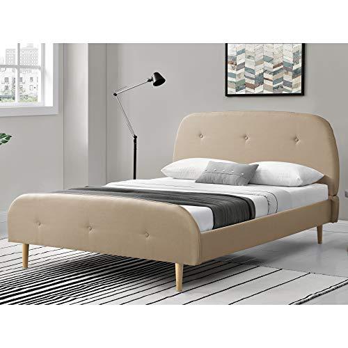 Polsterbett aus Leinen 160x200 cm Stoffbett Doppelbett Jugendbett Bettgestell mit Kopf-und Fußteil mit Lattenrost Creme