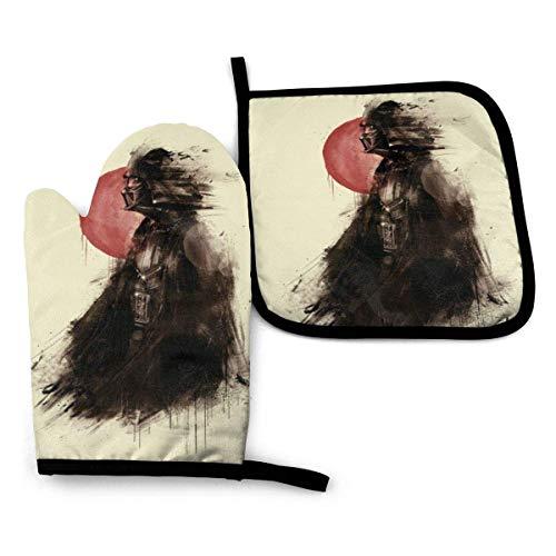 shenguang Darth Vader Juego de manoplas y soportes para ollas antideslizantes resistentes al calor, guantes de cocina (1 guante de horno + 1 agarradera)