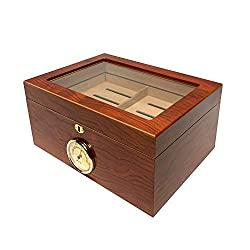 cheap The Öhlins Group's Barry Glass Top Cigar Humidor can hold up to 100 cigars lined with Spanish cedar.