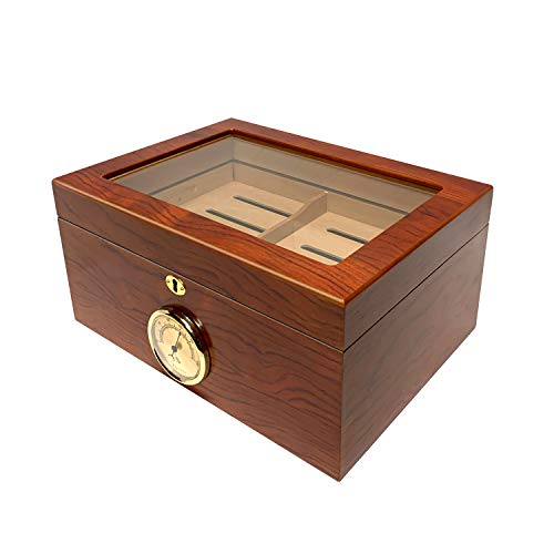 Orleans Group Bally Glass Top Cigar Humidor, Holds Up to 100 Cigars, Lined with Spanish Cedar, Large External Hygrometer, 1 Tray, 2 Dividers