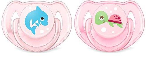 Philips Avent Klassik Design Schnuller 6-18 Monate SCF169/38, Doppelpack, Mädchen, Delfin/Schildkröte