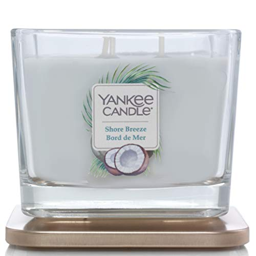 Collezione Yankee Candle Elevation con Coperchio della Piattaforma Candela Quadrata Medio a 3 Stoppini, Shore Breeze