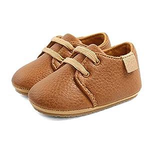 LACOFIA Zapatos Oxford con Cordones para Bebé Niños Zapatillas Primeros Pasos Antideslizantes para Bebés Marrón 12-18 Meses