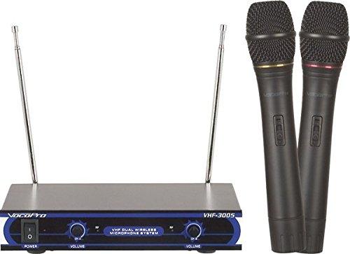 VocoPro VHF-3005 Sistema de micrófono inalámbrico VHF de doble canal, 21.00 x 21.00 x 23.00