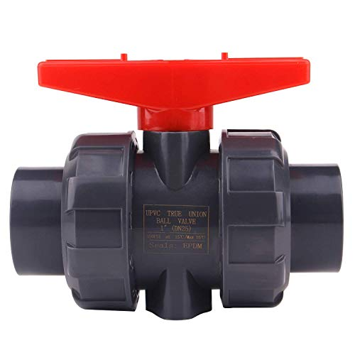 True Union Ball Valve with Full Port-1 inch PVC Compact Ball Valve with EPDM O-Rings, Reversible PTFE Seats, Rated at 200 PSI, 1 inch Socket