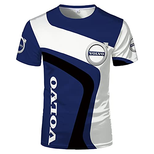 Herren T-Shirts - Volvo 3D gedruckt Sommer Kurzarm Casual Tops Arbeitskleidung Uniform T-Shirts Atmungsaktives Unterhemd Jugendgeschenk,Blue-4XL