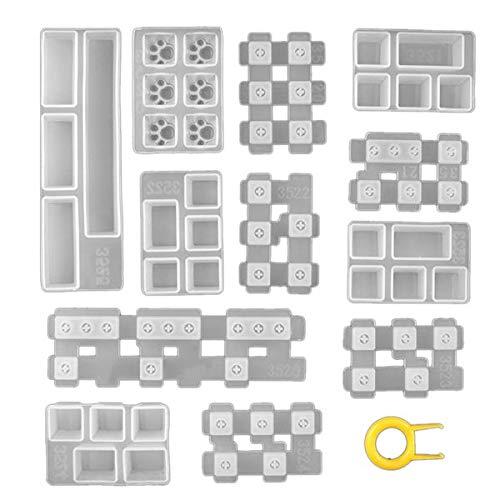 Gesh Juego de moldes de silicona para teclas, de resina de cristal hecha a mano, para teclados de juegos, bricolaje mecánico con extractor de llaves