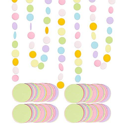 VINFUTUR 4×4 Meter Bunte Runde Girlande Punkte Hängende Banner Kreis Papiergirlande für Hochzeit Geburtstag Party Baby Shower Feier Deko
