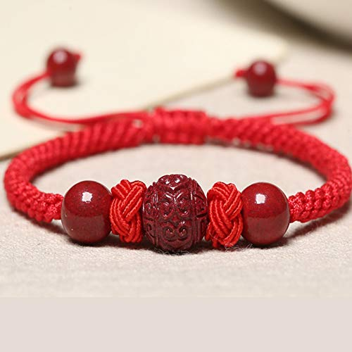 Feng Shui Wealth Bracelet Cinnabar Healing Crystal Bangle Adjustable Auspicious Cloud Pineapple Knot Stretchy Bangle Strong Talisman Amulet Attract Money Good Luck Protection,Red