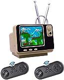 HYK Consola de juegos retro para niños con dos gamepads inalámbricos Bluetooth, videoconsola de juegos de TV de mano integrada en 108 juegos, salida AV, pantalla TFT de 3 pulgadas, función de reloj