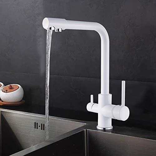 SUGU Hochdruckarmatur 3 -Wege Trinkwasserhahn Armatur für Küche,2 Griff 360°rotierende Mischbatterie Spüle Filtersystem Spültischarmatur,Weiß Farbe
