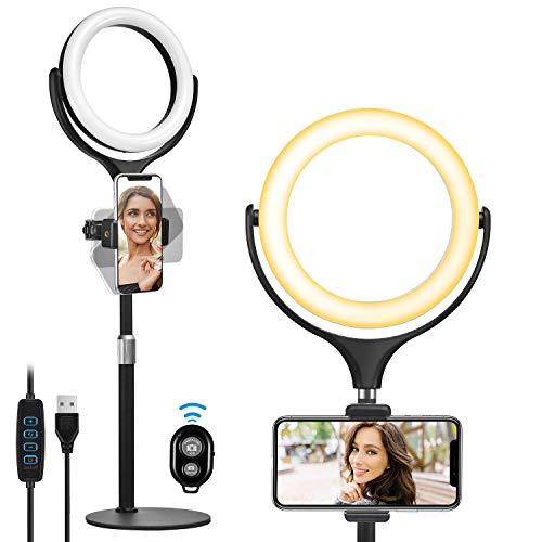 Selfie Ringleuchte Handy mit Fernbedienung, Wixann 3 Farbe und 10 Helligkeitsstufen Dimmbares Selfie Ring licht, LED Ringlicht Tisch für TikTok/Make-up/Fotografie/Live-Stream/YouTube-Videoaufnahme