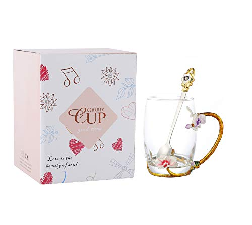 Flower Tea Cups 3D Cups Coffee Cup Tea Mug With Tea Spoon Women, Tea, Juice, Beer, Milk Hot And Cold Drinks Use Gift (Orchid, 12 OZ)