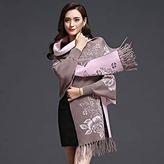 Winter Long Scarf Shawl Scarf Dual-use Female Autumn and Winter with Sleeves Cloak Thick Warm Cloak Jacket (Color : Scarlet) Winter Soft Scarf (Color : Khaki)