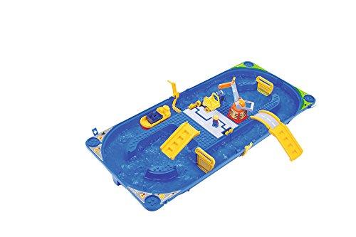 BIG Spielwarenfabrik B 551031 BIG - Waterplay Funland - Wasserbahn blau, 115 x 50 x 8cm große Bahn, inklusive 1 Boot, 1 Fahrzeug und 1 Männchen, abnehmbarer Strömungserzeuger, ab 3 Jahren