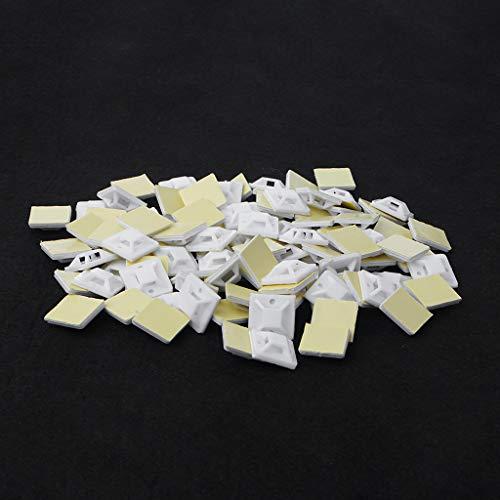 JOYKK 100 stuks plastic lijm rechthoek draad band kabel clip klem mount - wit