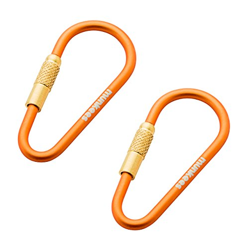 munkees Mini Link Karabiner Schlüsselanhänger - Ø 3 x 48 mm mit Schraubverschluss (2 Stück), Orange, 32013