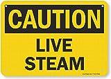 Queen54ferna Precaución: Señal de Vapor en Vivo, señales de Advertencia de Metal para Propiedad, decoración del hogar, 8 x 12 Pulgadas