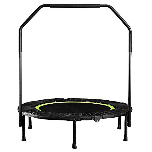 LNNZPL Trampoline 40ich Mini Foldable Trampoline with Adjustable Handrail Adult Gym Cardio Jump Workout pink trampoline,trampoline net Safe and durable products (Color : Green)