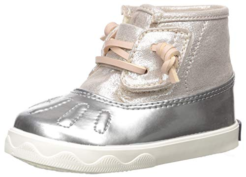 Sperry Baby-Girl's Icestorm Crib Ankle Boot, Blush/Silver, 1 M US Infant