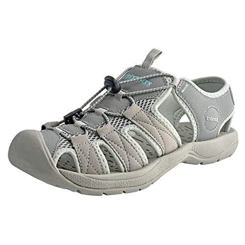 Knixmax-Sandalias de Senderismo Verano para Hombre Mujer Verano Exterior Senderismo Ligeras Antideslizantes Zapatillas Trekking Deportivas Casuales Sandalias de Playa, W-Gris 38
