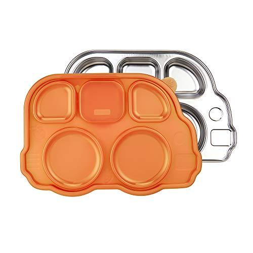 Innobaby Din Din Smart Stainless Divided Platter with Sectional Lid, Stainless Steel Divided Plate for Babies, Toddlers and Kids, BPA Free Plate