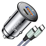 USB C Car Charger 42W Super Mini AINOPE All Metal Fast USB Car Charger Adapter PD&QC 3.0 Dual Port Compatible With iPhone 13 12 11 Pro Max X XR XS 8 Samsung Galaxy Note 20/10 S21/20/10 Google Pixel