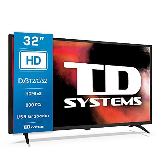TD Systems K32DLK12H - Televisores 32 Pulgadas HD, 800 PCI Hz, 2X HDMI, USB Grabador Reproductor, DVB-T2/C/S2 Modo Hotel. Televisiones