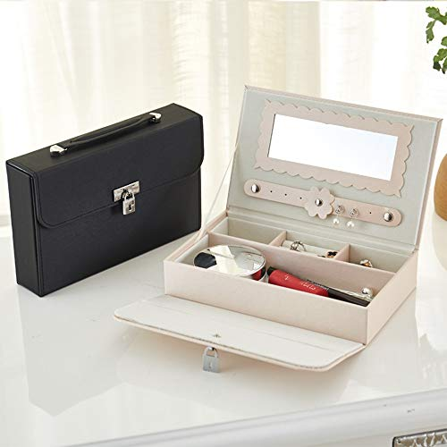 Caja de almacenamiento de joyas Joyero portátil Corea con cerradura Regalo de boda Joyero simple Pendientes Pendientes Joyero de mano Caja de almacenamiento Para Pendientes Collar Joyas Organizador