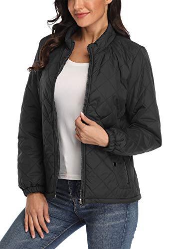 MISS MOLY Steppjacke Damen Leichte Jacke Übergangsjacke Gesteppte Jacke Herbst Winter Schwarz Large