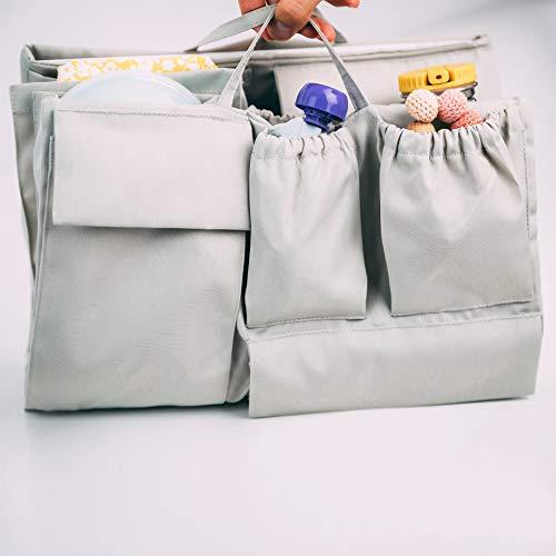 lilibell Baby Wickeltasche Handtasche Organizer, zahlreiche Fächer, wasserabweisend und flexibel für Shopper/Rucksäcke - Bag in Bag (Grau)