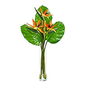 Silk Flowers -Bird of Paradise Arrangement with Cylinder Vase Artificial Flowers