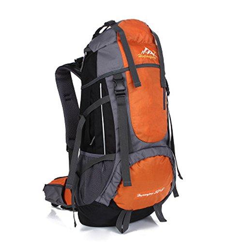 Minetom 55L Unisex Erwachsene Rucksack Camping Wandern Reisen Trekkingrucksäcke Wanderrucksäcke Taktischer Oxford Tuch Rainproof Orange One Size