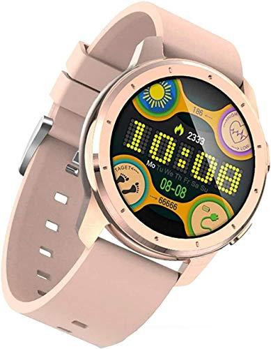 Reloj digital inteligente reloj de actividad física y reloj inteligente Ip68 impermeable Bluetooth reloj deportivo rastreador de actividad pulsera inteligente con podómetro, negro y rosa