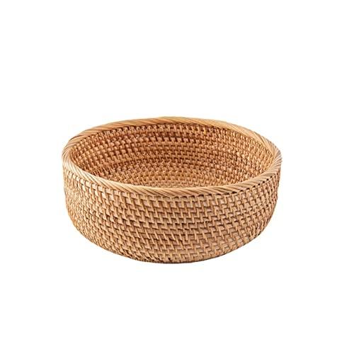 Nordic Style Bread Basket Handmade Living Room Snack Fruit Bowl Vegetable Basket Wicker Picnic Tray Food Tray Jewelry Display Dessert Dish Cosmetics Storage Trays Home Decoration 26cm×11cm (23cm×9cm)