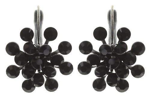 KONPLOTT Magic Fireball Classic Ohrhänger für Damen | Exklusive Designer-Ohrringe mit 32 Swarovski Steinen | Glamouröser Ohrschmuck passend zu jedem Anlass | Handgefertigter Damen-Schmuck | Schwarz