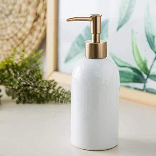 WODEJIA Refillable Liquid Soap Dispenser Pump Bottle for Bathroom Vanity Countertop Kitchen Sink - Holds Hand Soap Dish Soap Hand Sanitizer Mesa White 420ML