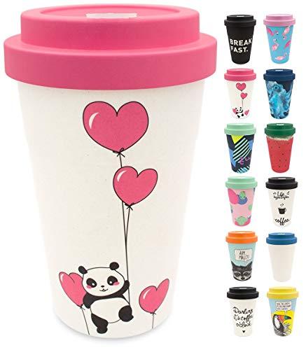 holi. Coffee-to-Go Bambus-Becher mit Schraubdeckel, Filz-Manschette | nachhaltiger Kaffeebecher mit Verschluss | Mehrweg-Becher Bamboo-Cup | Woodcup spülmaschinenfest (Panda Love)