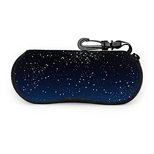 Dedesty Glasses Case, Bright Star Blue Dark Night Sky Sunglasses Soft Case Ultra Light Neoprene Zipper Estuche para anteojos With Carabiner, Ultra Light
