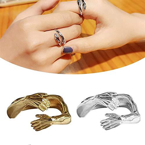 2021 New Couple Hug Ring, Fashion Love Hug Ring Band Open Finger Totalmente Ajustable Joyas, Love Hug Ring Band Open Finger, 925 Silver Heart Love Hug Hands Talla única (2PC)