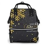 Jojoshop Mochila para pañales, elegante fondo navideño con copos de nieve dorados brillantes, mochila de viaje, gran capacidad, impermeable y elegante