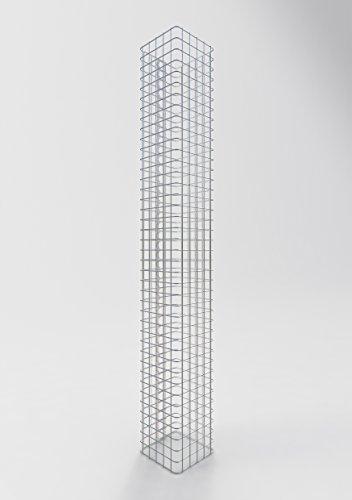 GABIONA Säule Steinkorb-Gabione eckig, Maschenweite 5 x 5 cm, Höhe 200 cm, Spiralverschluss, galvanisch verzinkt (27 x 27 cm)